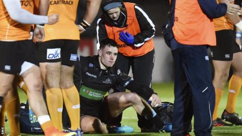 Lee Jones after suffering a head injury on Pro14 duty for Glasgow Warriors
