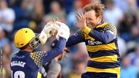 Colin Ingram and Mark Wallace during Glamorgan's T20 Blast campaign in 2016