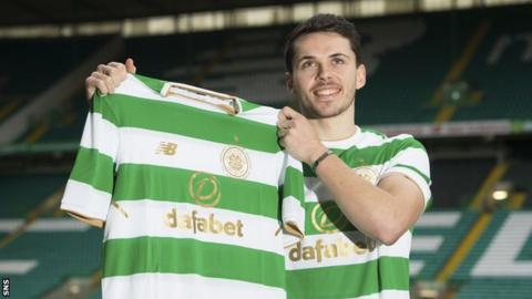 St Mirren winger Lewis Morgan with his Celtic top