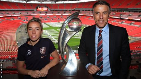 England international Jordan Nobbs (left) and manager Phil Neville (right) pose with the European Championship trophy at Wembley