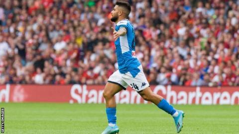 Lorenzo Insigne celebrates scoring for Napoli