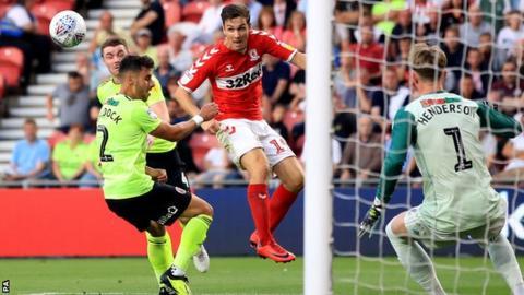 Stewart Downing scores Middlesbrough's third goal v Sheffield United