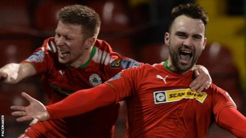 Jamie Harney scored three in Cliftonville's 4-3 win at Solitude