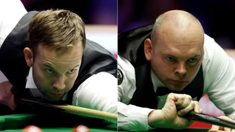 A split image of Ali Carter (left) and Stuart Bingham (right) playing shots in their respective Masters semi-finals