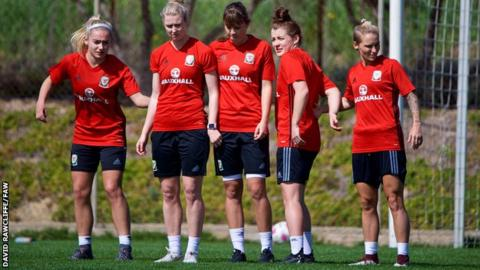 Wales team in training