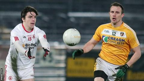 Michael McCann and Tyrone's Lee Brennan during this year's McKenna Cup