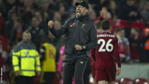 Jurgen Klopp celebrates Liverpool 5-0 win over Watford