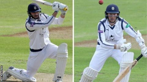 James Vince (left) and fellow England international Liam Dawson ground their way through a key fifth-wicket stand of 41 in 30.3 overs