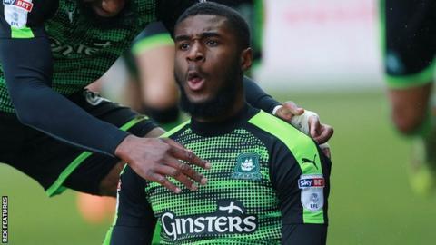 Moses Makasi celebrates after scoring for Plymouth Argyle