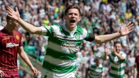 Jack Aitchison celebrates scoring for Celtic against Motherwell