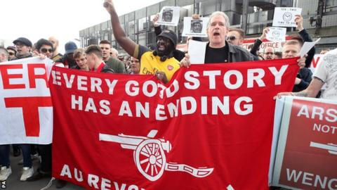 Arsenal fans protest