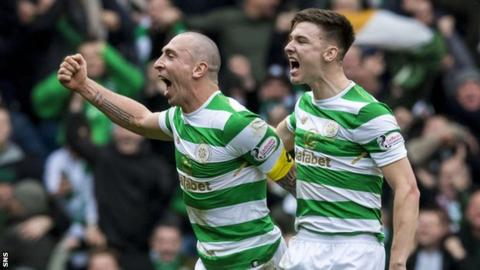 Scott Brown and Kieran Tierney celebrate Celtic's 3-2 victory at Ibrox in March
