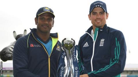 Sri Lanka captain Angelo Mathews and England skipper Alastair Cook