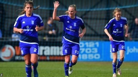 Birmingham City Ladies defender Marisa Ewers celebrates her goal against Arsenal Ladies