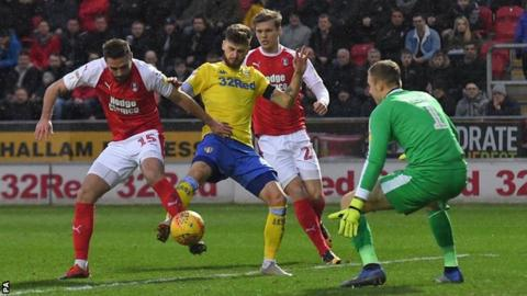 Mateusz Klich scores for Leeds at Rotherham