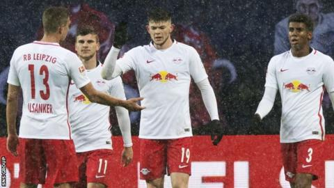 Scotland winger Oliver Burke was on target for RB Leipzig