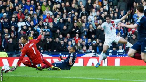 Lee Casciaro scored for Gibraltar against Scotland at Hampden