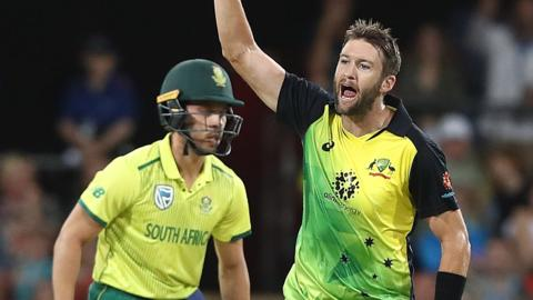 Australia's Andrew Tye celebrates a wicket against South Africa