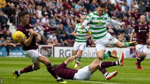 Callum McGregor in action for Celtic against Hearts