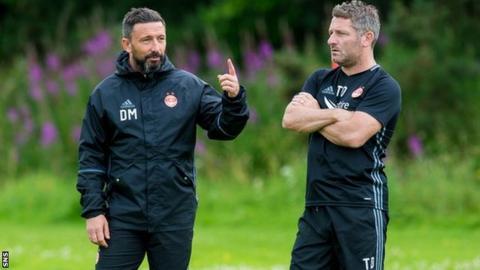 Aberdeen boss Derek McInnes (left) and Tony Docherty