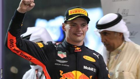 Max Verstappen on the podium after the Abu Dhabi Grand Prix