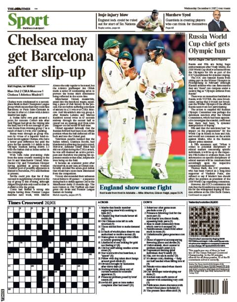 The Times also focuses on Chelsea's potential opponents in the Champions League knockout phase
