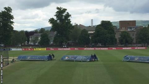 The outfield at Cheltenham's College Ground was fit for play but the covers could not handle the overnight rain
