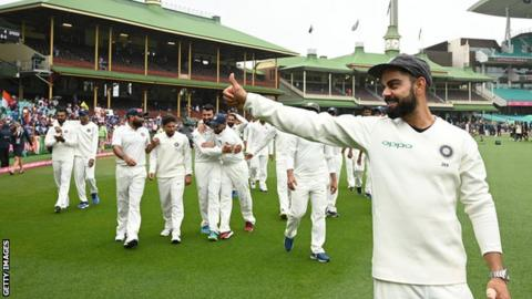 India captain Virat Kohli celebrates with his team