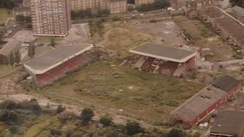 An aerial shot of Charlton's deserted Valley during their seven-year exile from the ground