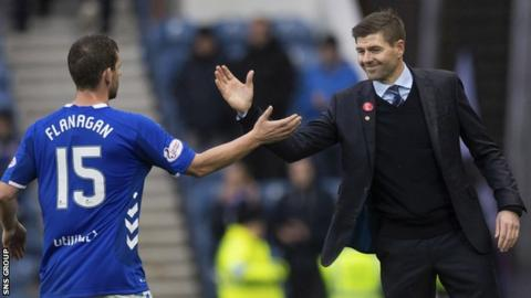 Rangers manager Steven Gerrard with full-back Jon Flanagan