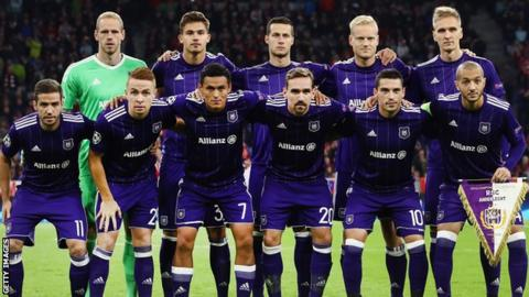Anderlecht's team line-up before the Bayern Munich defeat