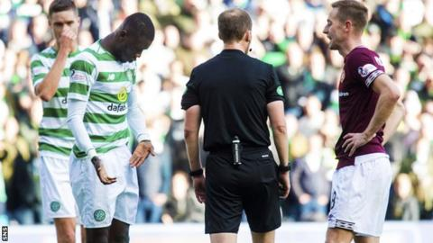 Eboue Kouassi had his genitals grabbed by Hearts striker MacLean in his final Celtic appearance