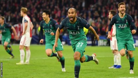 Lucas Moura celebrates scoring for Tottenham against Ajax in the Champions League