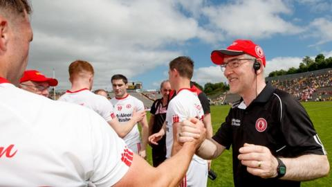 Mickey Harte celebrates after the Ulster SFC semi-final win over Monaghan in June