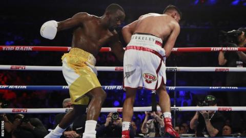 A left hook to Khan's groin brought a premature end to the contest