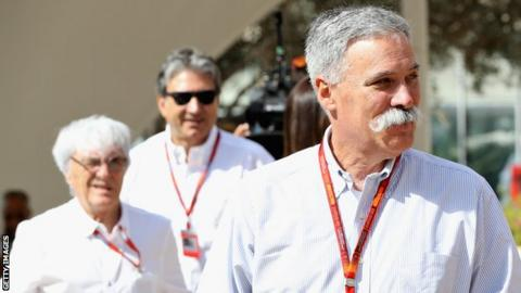 Chase Carey, chairman of Liberty Media and F1 boss Bernie Ecclestone