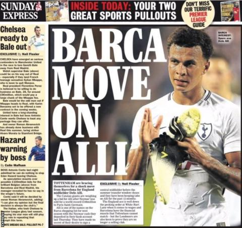 The Express says Barcelona are ready to move for Tottenham's Dele Alli