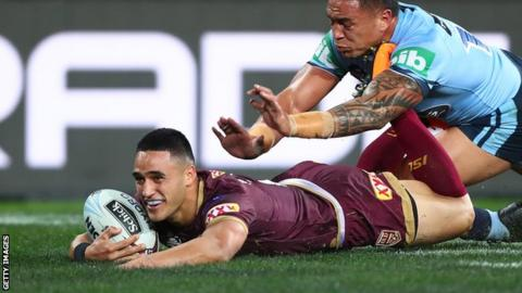 Valentine Holmes scores a try for Queensland