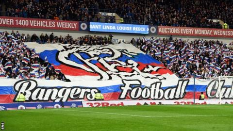 Rangers fans display a banner against Hibs