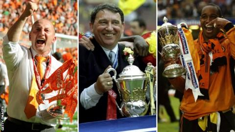 Ian Holloway, Graham Taylor and Paul Ince celebrate play-off final wins