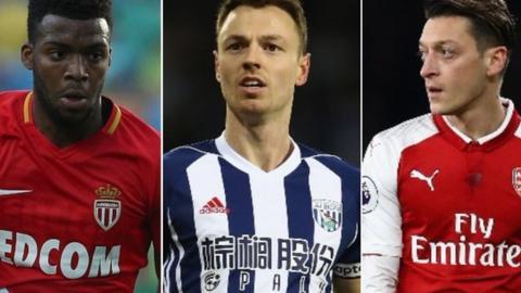 Thomas Lemar, Jonny Evans and Mesut Ozil