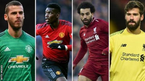 David de Gea, Paul Pogba, Mohamed Salah, Alisson