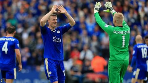 Robert Huth celebrates after Leicester retain their Premier League status