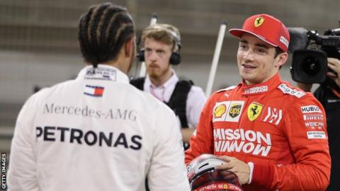 Mercedes F1 driver Lewis Hamilton and Ferrari F1 driver Charles Leclerc