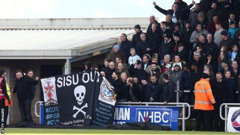 Coventry City fans protest at Northampton