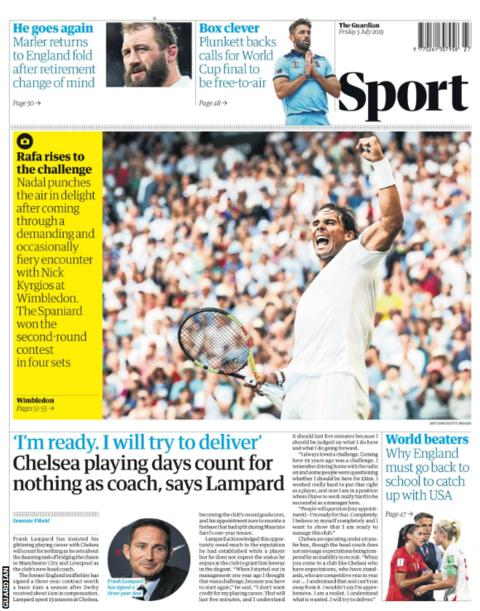 And the Guardian focus on Lampard playing down the significance of his Chelsea playing career