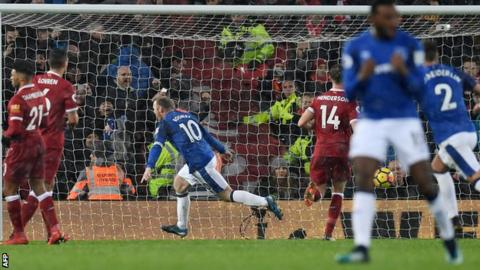 Wayne Rooney celebrates scoring for Everton against Liverpool