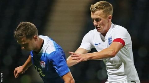 James Ward-Prowse in action for England Under-21s