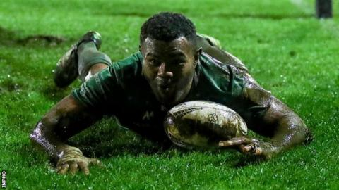 Naulia Dawai slides in to score Connacht's second try against Zebre