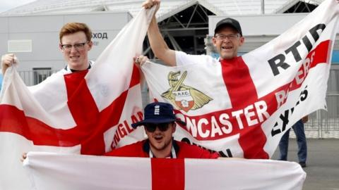 Supporters of England arrive for the FIFA World Cup 2018 quarter final soccer match between Sweden and England in Samara